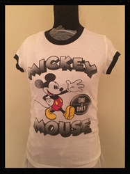 White Mickey Mouse T Shirt,  Girls Size Small Free Shipping White Mickey Mouse T Shirt,  Girls Size Small